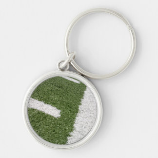 White Football Lines Silver-Colored Round Keychain