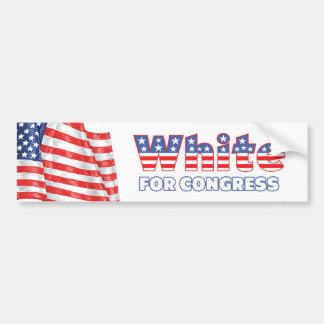White for Congress Patriotic American Flag Car Bumper Sticker