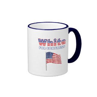 White for Congress Patriotic American Flag Mugs