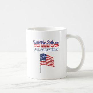 White for Congress Patriotic American Flag Mug
