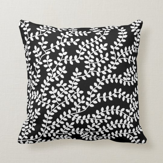 White Forest on Black Background Throw Pillow