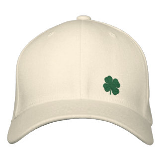 White Four Leaf Clover St. Patrick  - CUSTOMIZABLE Embroidered Baseball Cap
