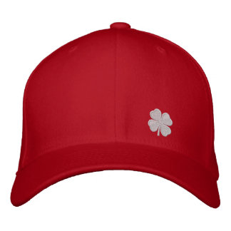 White Four Leaf Clover St. Patricks Dat Red Hat Embroidered Baseball Cap