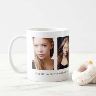 White Four Photo Collage With Custom Message Coffee Mug
