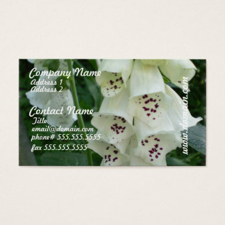 White Foxglove Flowers Business Cards