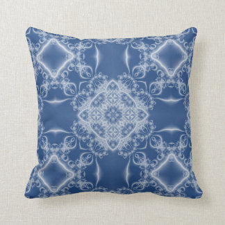 White fractal lace on blue throw pillow