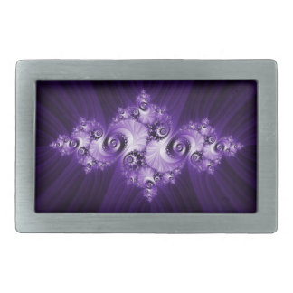White fractal on purple background belt buckles