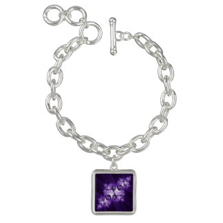 White fractal on purple background bracelet