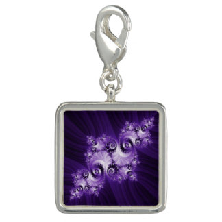 White fractal on purple background charm