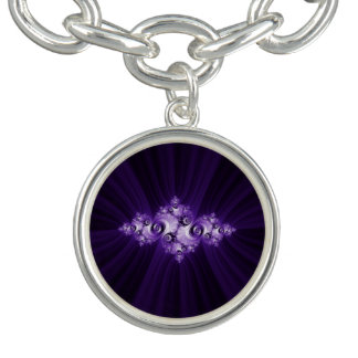 White fractal on purple background charm bracelet