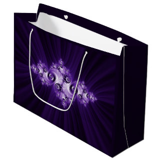 White fractal on purple background large gift bag