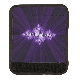 White fractal on purple background luggage handle wrap