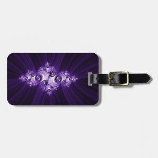 White fractal on purple background luggage tag