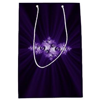 White fractal on purple background medium gift bag