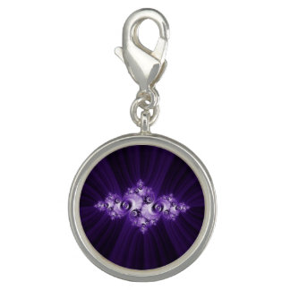 White fractal on purple background photo charm