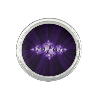 White fractal on purple background ring