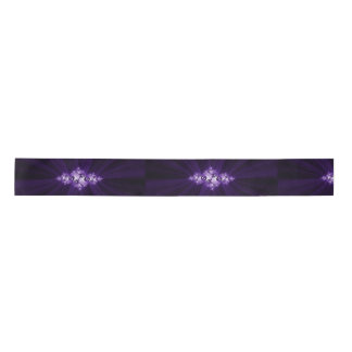 White fractal on purple background satin ribbon