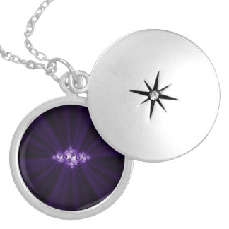 White fractal on purple background silver plated necklace