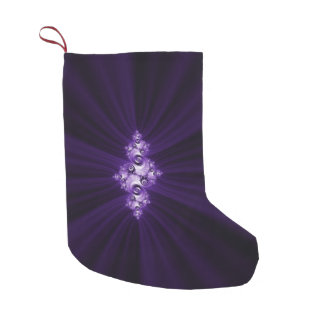 White fractal on purple background small christmas stocking