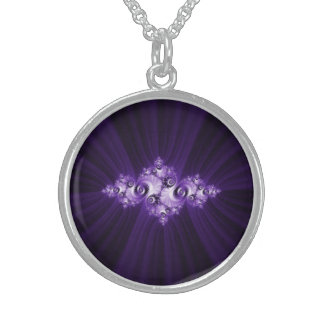 White fractal on purple background sterling silver necklace