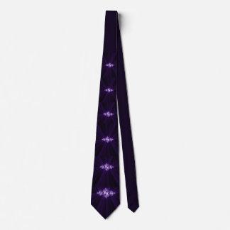 White fractal on purple background tie