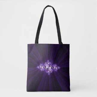 White fractal on purple background tote bag
