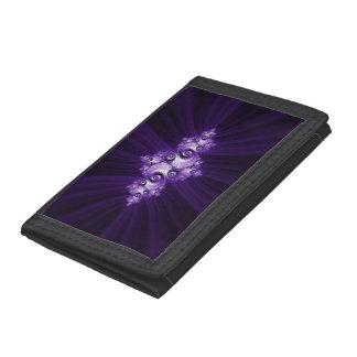 White fractal on purple background tri-fold wallet