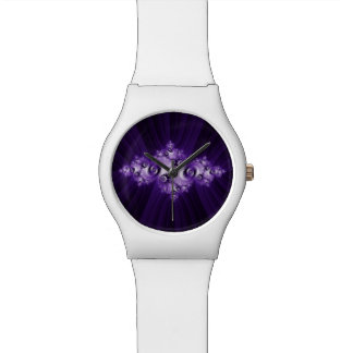 White fractal on purple background watch