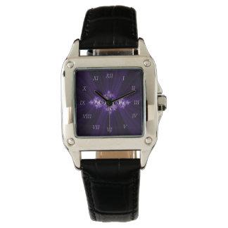 White fractal on purple background watch
