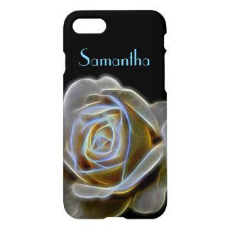 White Fractal Rose Black Name iPhone Case