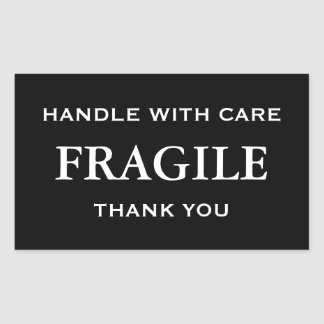 White Fragile. Handle with Care. Thank you. Sticker
