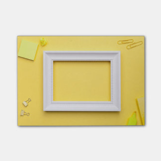White Frame with Office Accessories Post-it Notes