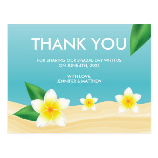 White Frangipani Beach Wedding Thank You Postcard