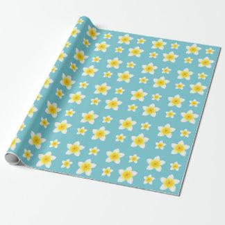 White Frangipani Flowers Pattern Wrapping Paper
