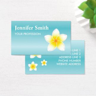 White Frangipani Plumeria Flowers On Blue Business Card