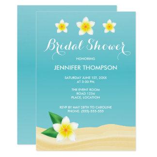 White Frangipani Tropical Beach Bridal Shower Card