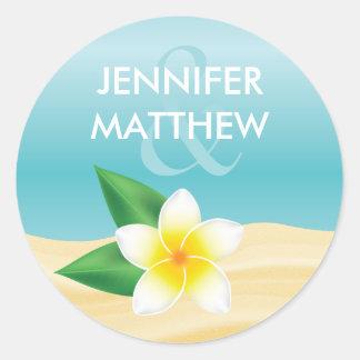 White Frangipani Tropical Flower Beach Wedding Classic Round Sticker