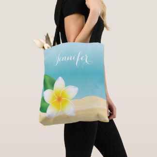 White Frangipani Tropical Flower With Custom Name Tote Bag