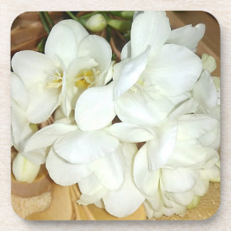 White Freesia Bouquet Beverage Coaster