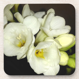 White Freesia Bouquet Drink Coasters