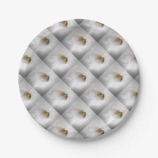 white freesia paper plate