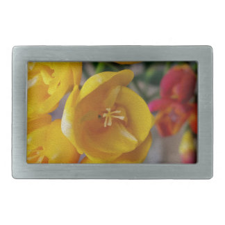 white freesia rectangular belt buckle