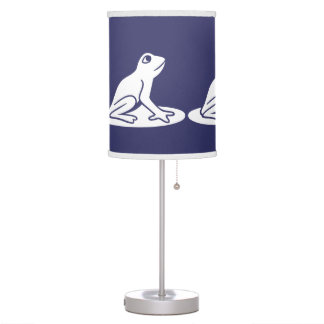 White Frog on blue background Desk Lamps
