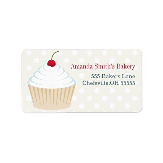 White Frosted Cupcake Address Labels