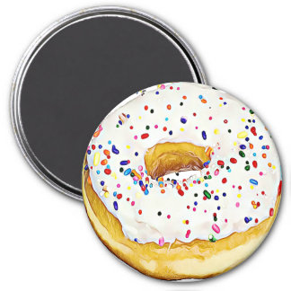 White Frosted Donut with Sprinkles Magnet