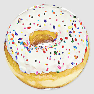 White Frosted Donut with Sprinkles Sticker