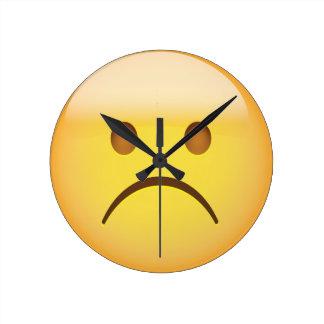 White Frowning Face Emoji Round Clock