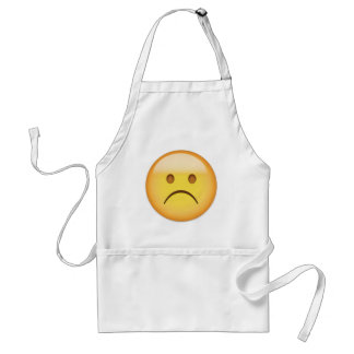 White Frowning Face Emoji Standard Apron