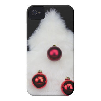 White fur christmas tree isolated on black Case-Mate iPhone 4 cases