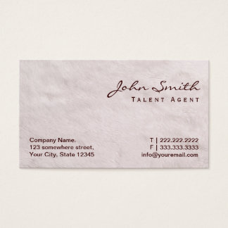 White Fur Talent Agent Business Card